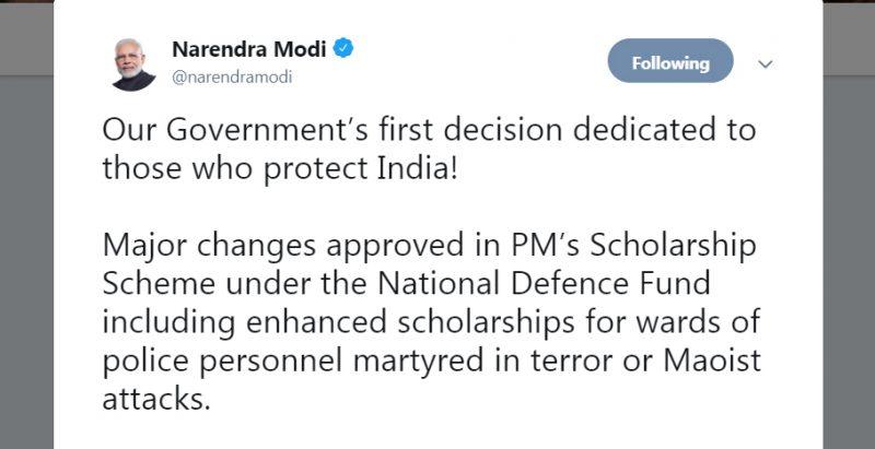 मंत्रिपरिषद का पहला निर्णय रक्षा करने वालों को समर्पित: नरेंद्र मोदी