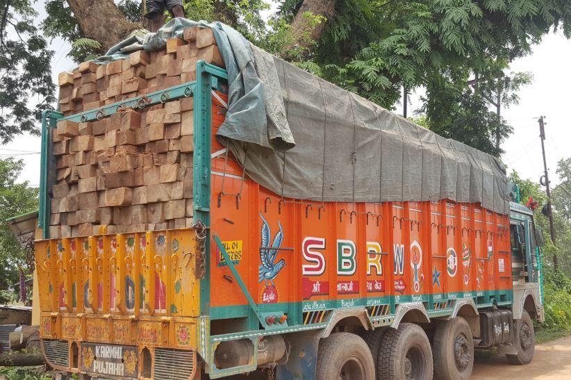 वन विभाग ने लकड़ी से लदे ट्रक को किया जब्त